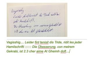 Screenshot: Oben ein mit Hand geschriebener Text, unten die unsinnige Übersetzung in getippten Text von Google Docs