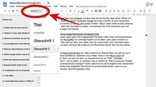 In Google Docs kannst du rechts neben der Zoom-Einstellung die Titelart bestimmen