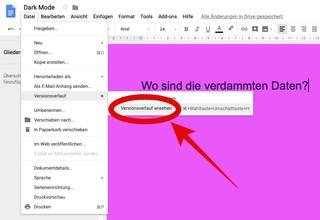 So findest du den Versionsverlauf in Google Docs