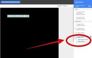 So findest du alte Versionen von einem Dokument in Google Docs