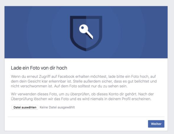 Facebook-Dialog, der zum Upload eines Fotos auffordert