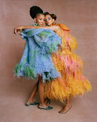 Lineisy (left) wears dress and shoes by MARC JACOBS and earrings by DANNIJO; Hiandra (right) wears dress and shoes by MARC JACOBS and earrings by OSCAR DE LA RENTA.