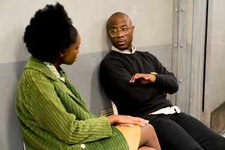 Barry Jenkins and Kiki Layne on the set of If Beale Street Could Talk