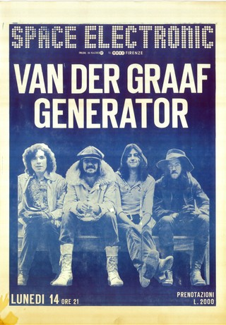 An original poster of Van der Graaf Generator's performance at the Space Electronic.