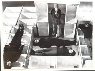 "A ""Jam Session N. 1"" performance in refrigerator carcasses during S-Space in 1970."