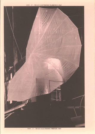 The parachute from San Bernardino that decorated the Space Electronic, in 1969. This image is from Gruppo 9999's Architectural Memoirs, the copper-covered, pink-paged book they made to collect all their projects.