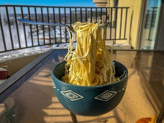 A bowl of noodles froze solid in Chicago during the January 2019 polar vortex.