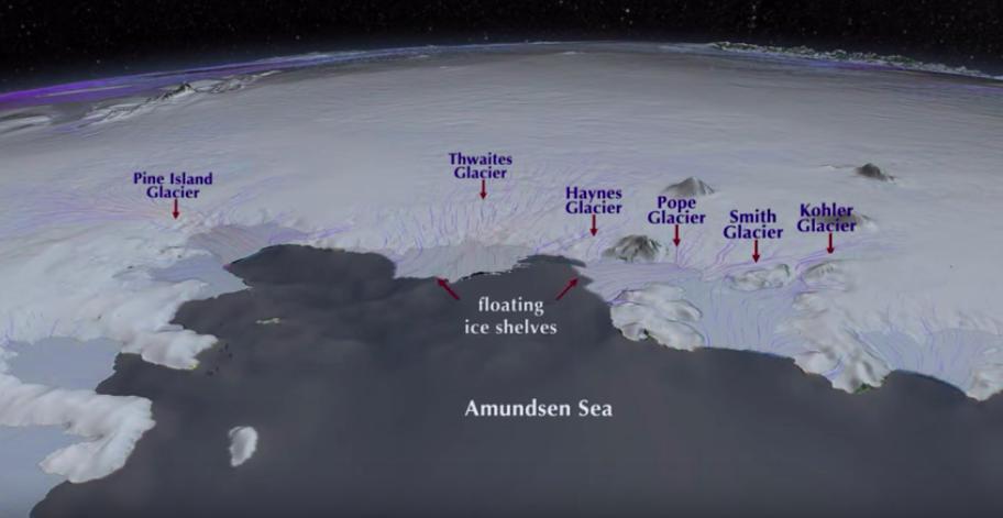 Illustration of Thwaites Glacier in Antarctica.