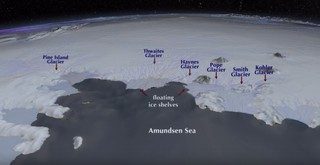 Illustration of Thwaites Glacier in Antarctica.