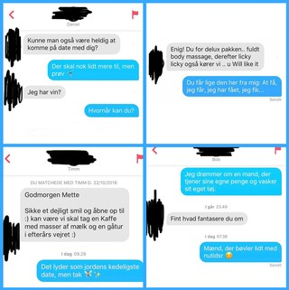 Et sammensat billede med fire screenshots fra Mette Helenas samtaler på Tinder