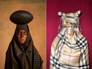 Mous Lamrabat Mousganistan hoofddoek met Louis Vuitton football - burberry hoofddoek