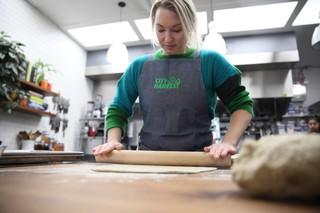 emma bengtsson rolling dough for knackebrod