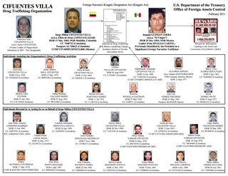 The hierarchy of the Cifuentes-Villa drug trafficking organization, according to the U.S. Treasury Department's Office of Foreign Assets Control. (via U.S Treasury Department)