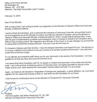 Jody Wilson-Raybould's resignation letter