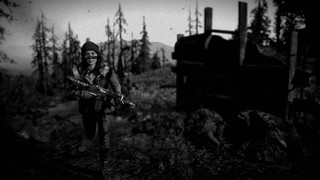 A woman carrying a rifle climbs a pine ridge in a grainy, black-and-white photo from Far Cry: New Dawn