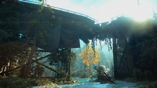 Far Cry New Dawn No Hope banner on a broken interstate bridge
