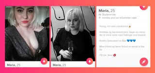 Screenshots fra journalistens Tinderprofil