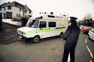 An ambulance arriving at Dunblane primary school shortly after the shooting