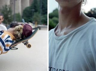 skater ligt op zijn skateboard, bezweet in Luxemburg, foto door Cléo-Nikita Thomasson