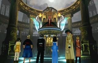 the cast of Final Fantasy 8 gathered in a grand hall.