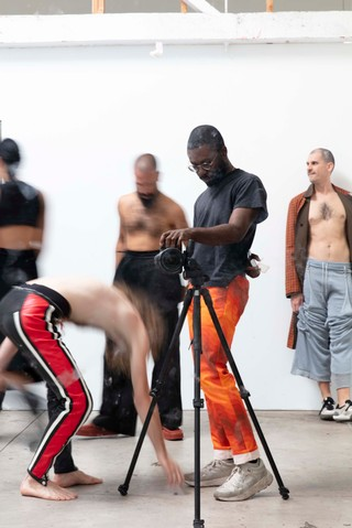 From left: Karis wears dress by AMBUSH; William wears trousers by ALEXANDER MCQUEEN; Alberto; Paul wears his own shirt and shoes, trousers by DRIES VAN NOTEN.