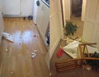 Johns Wohnung nach Wutanfällen seiner Ex-Freundin