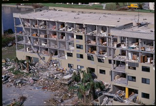 A condo damaged by Hurricane Andrew in 1992