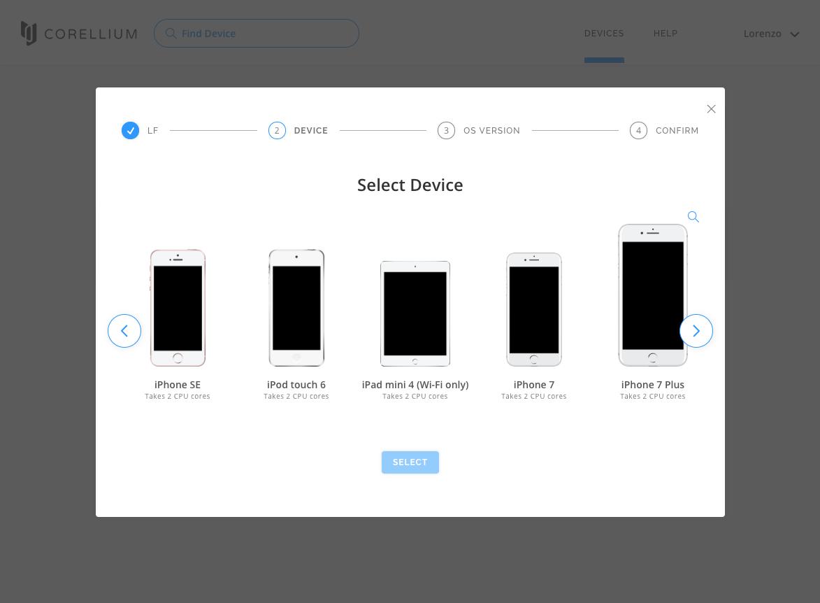 A screenshot of Corellium's interface.