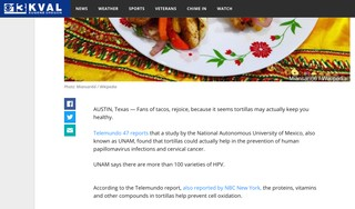 screenshot of now-deleted story on tortillas and hpv