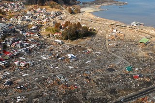Aerial view of Japan after 2011 tsunami