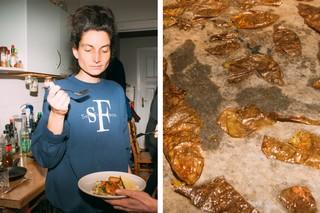 Sandra und Kartoffelschalen-Chips