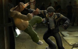 A character in Def Jam gets hurled violently into a wall