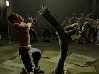 A high kick is delivered in Def Jam Fight for NY