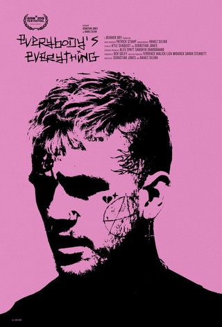 the poster for Everybody's Everything, showing Lil Peep's face on a pink background