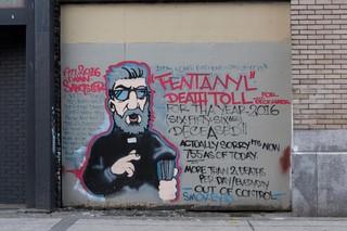 Graffiti zu den Todeszahlen durch Fentanyl