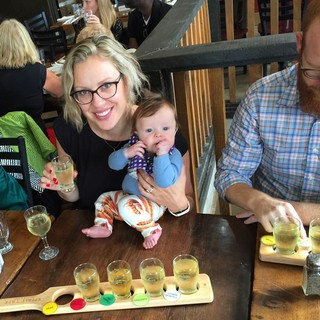 Crystal Luxmore beer tasting with son Lochlan paddle craft beer