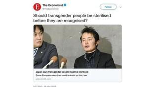 Screenshot eines transfeindlichen Tweets von The Economist