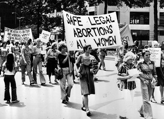 Pro-choice activists march in support of safe and legal abortion in New York at a 1977 demonstration.