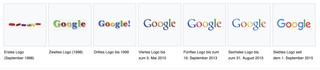 Das Google-Logo im Lauf der Zeit