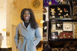 black woman in shop with accessoires