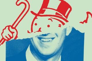 helft illustratie van monopoly logo, andere helft gezicht van een man