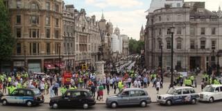 Demonstratie tegen Uber in Londen