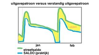 grafiek uitgavepatroon versus verstandig uitgavepatroon - januari, februari