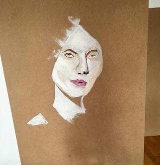 Schilderij met vrouw erop geschilderd door Gwen