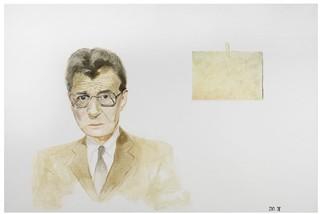 een portret van Simon Carmiggelt geschilderd door Gwen