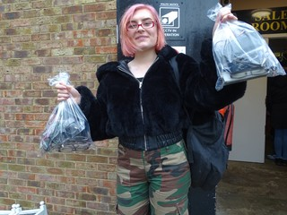 The writer with her sacks of spectacles