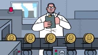 cartoon fabriek munten onderzoeker