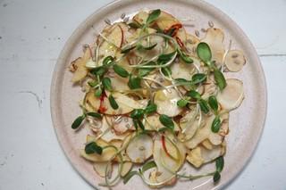 raw sunchoke, apple, and cheddar salad from chef julia sullivan of henrietta red