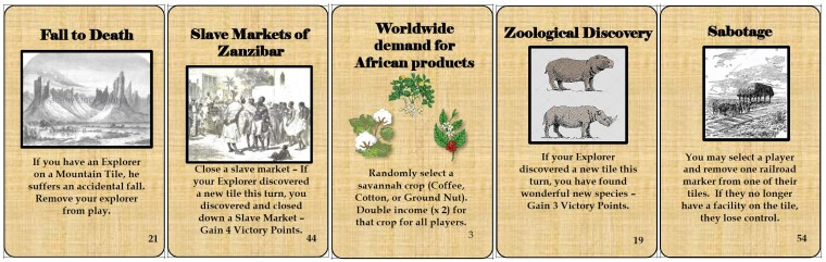 Some of the event cards in 'Scramble for Africa'