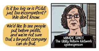Headshot illustration of Mindy Spatt of The Utility Reform Network, and a quote: